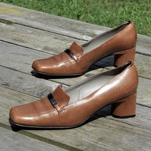 Bally Square Toe Pumps Caramel Brown Sz 9.5 US